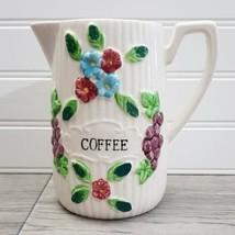 Vintage Porcelain Raised Floral Hand-Painted Pitcher Coffee/Tea Pot - Japan - $21.78