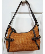 Fossil Woven Straw and Leather Satchel Purse - $44.99