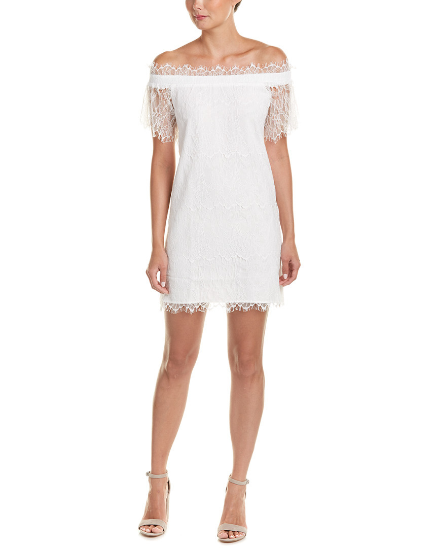 On Twelth Women White Off Shoulder Lace Shift Dress