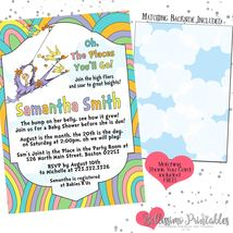 Oh the Places You'll Go Baby Shower Invitation PRINTABLE FREE thank you - £10.67 GBP