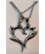 Two Hearts Necklace NEW Chain Black Accents Silver Tone - $8.90