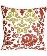Bohemian Damask Red, White and Ocher Throw Pillow (KB1-0015-01-18) - $36.95