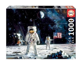 """NEW Educa Jigsaw Puzzle 1000 Pieces """"First Men on the Moon"""" by Robert Mc... - $36.89"""