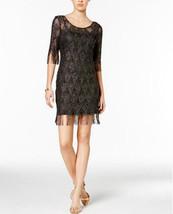 Jessica Simpson Metallic Fringe Sheath Dress Black /Gold Size 12 ( NO In... - $27.23