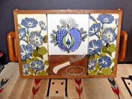 Vintage Royal Terry Of California Wooden Snack Tray/Towel TIME CAPSULE  ... - $58.91
