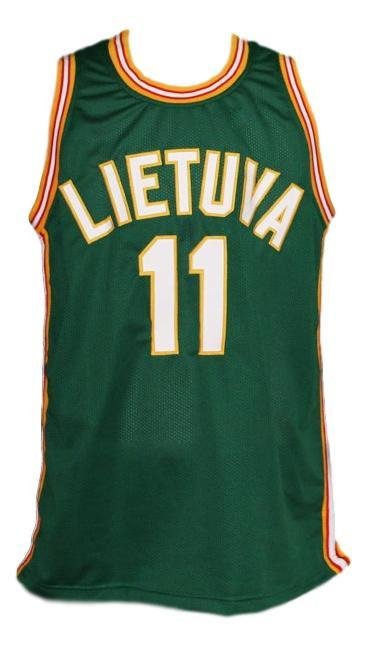 Arvydas sabonis  11 lietuva lithuania custom basketball jersey green   1
