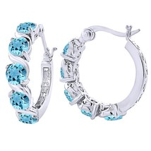 Blue Topaz 14k White Gold Pure 925 Silver Hoop Earrings With Snap Bar Cl... - $49.99