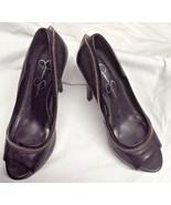 Jessica Simpson Black Leather w Zipper Sz 6 B CUTE Heels Shoes - $23.36