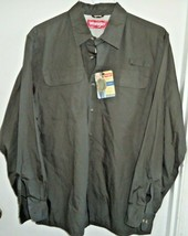 WRANGLER UTILITY SHIRT Men's Large Military Green Pockets Long Sleeves NWT - $22.44