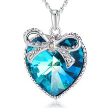 【Gift Packaging】 Woman Christmas Gifts Neckalce PLATO H Blue Heart Butte... - $69.95