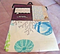 NEW Fish & Sea Coral SHOWER CURTAIN Bamboo Weave Turquoise Blue Lime Gre... - $19.75