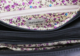 Women's Marcellino Chloe Leather Purse Shoulder Strap Black Crossbody Bag image 5