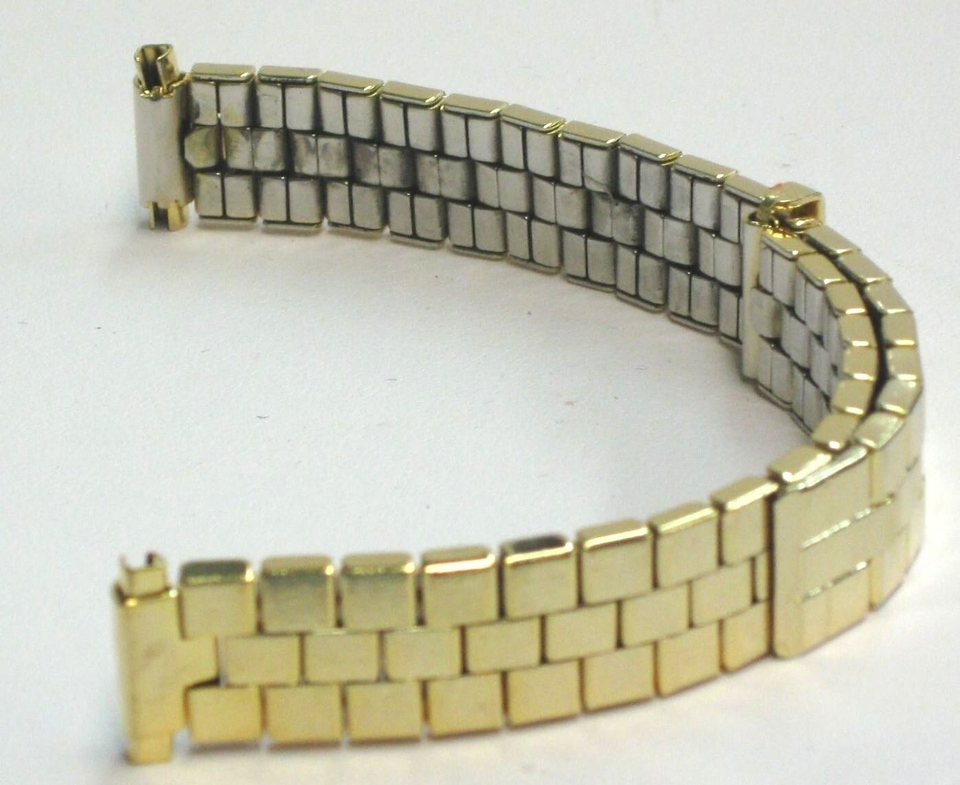 Primary image for Voguestrap Watch Band Vintage Slide Adjustable Brick Link Yellow Tone Stretch