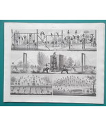 MILITARY Gymnastics Exercises Climbing Balance Beam Horse - 1844 Superb ... - $25.20