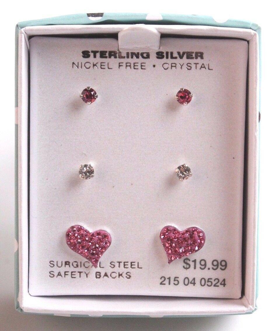 Ragazze Argento Sterling 925 Trasparente Rosa Cristallo Cuore Post Orecchini New