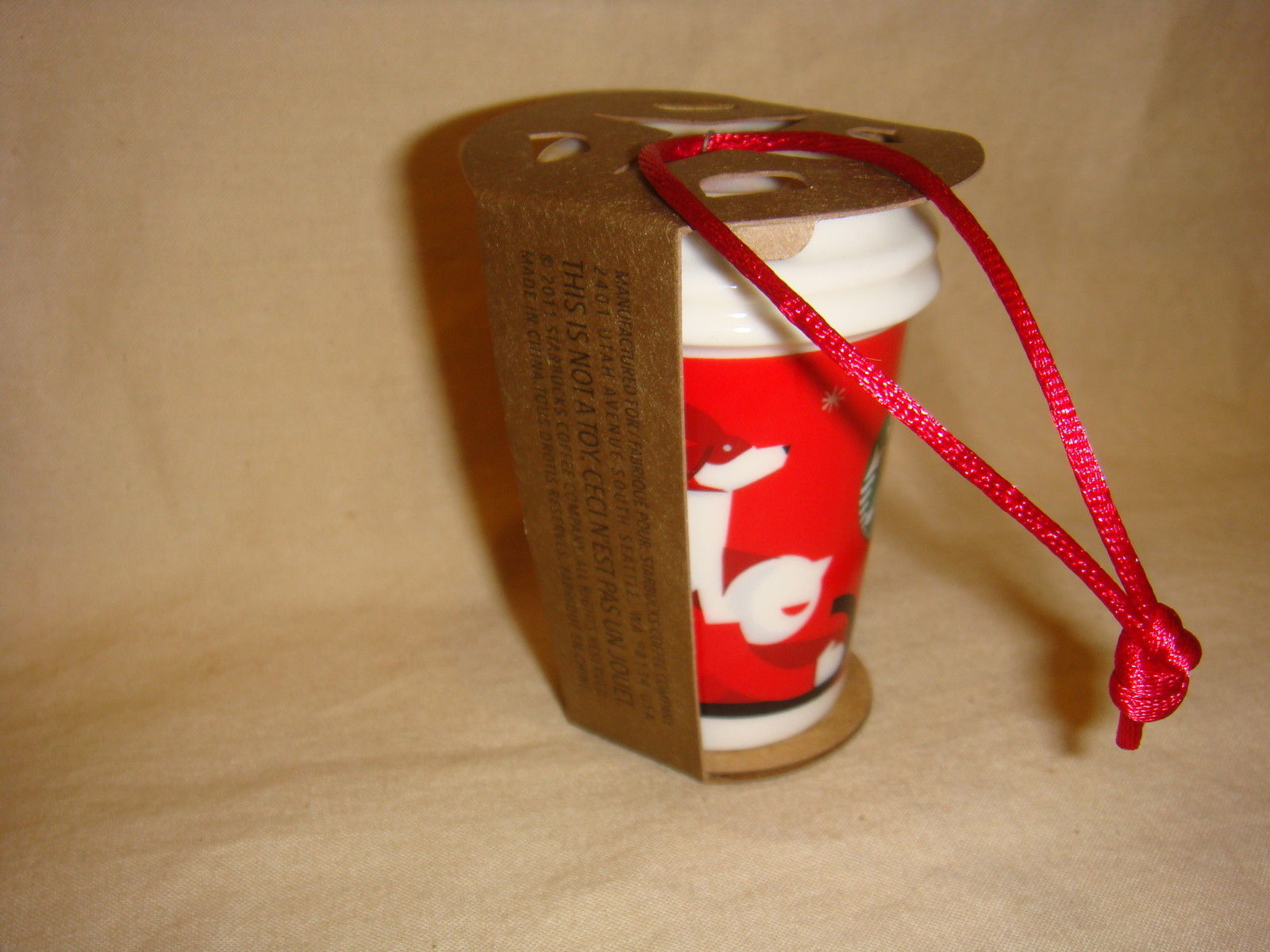 STARBUCKS 2011 RED HOLIDAY TO GO CUP ORNAMENT CERAMIC NEW