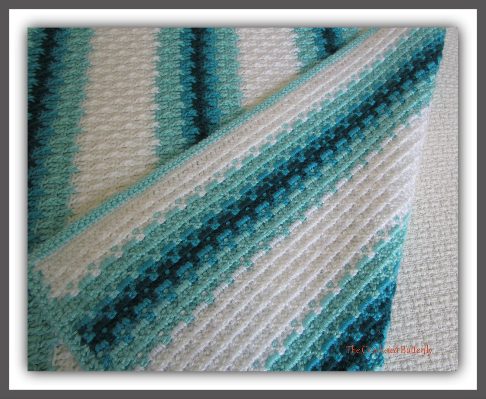 CROCHET PATTERN - Aqua Dreams Afghan, crochet, afghan, blanket, throw, colorwork