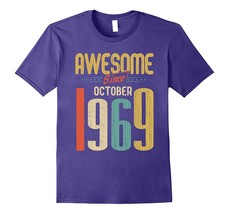 Awesome Since October 1969 T-Shirt Funny 48th Birthday Tee Men - $17.95+