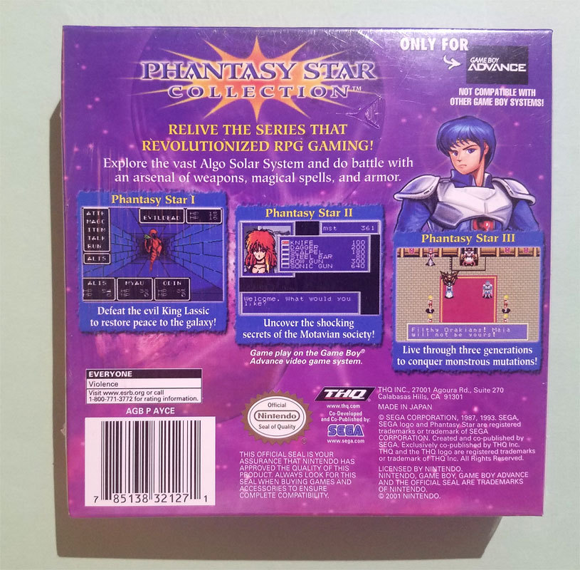 Phantasy Star Collection Brand New Sealed Game Boy Advance Game * Nintendo GBA