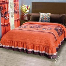 Madrid Floral Orange with Brown Bedspread in Microfiber Material by Inti... - $64.30+
