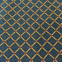 """Blue Upholstery Fabric yellow gold diamonds red accents. 56 """" wide x 97 """" long  - $25.00"""