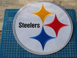 "PITTSBURGH STEELERS FOOTBALL NFL SUPERBOWL10"" HUGE PATCH JERSEY SEW EMBR... - $25.00"