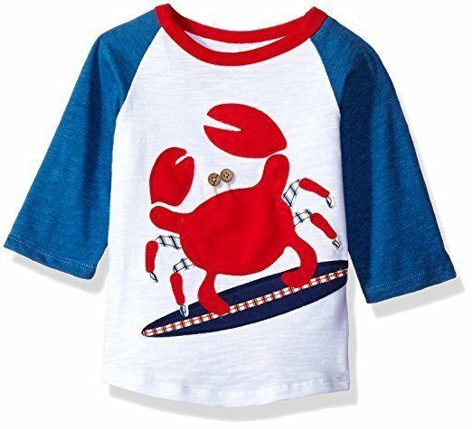 NWT Mud Pie Boathouse Surfing Crab Boys Blue Raglan Shirt 12M/18M 2T/3T 4T/5T - $12.99