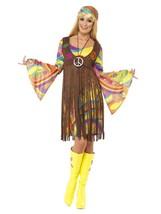 Smiffys 1960s Groovy Mujer Hippie Paz Amor Adulto Mujer Disfraz Halloween 35531 - $39.95