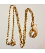 """Dainty Pendant NECKLACE Minimalist Pearly Cabochon Gold Tone 18"""" Princes... - $14.84"""