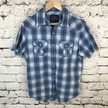 American Eagle Western Shirt Mens Sz M Plaid Snap Front  - $14.84