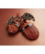 150 Rhinestone necklace - pave Acorn brooch - Good luck victorian symbol... - $135.00