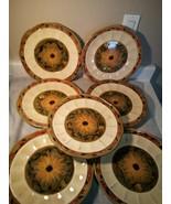 (7) CERTIFIED INTERNATIONAL SUNFLOWER DINNER PLATES--FLORAL--FREE SHIP--VGC - $78.48