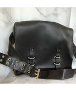 Mens Leather Messenger Bag Crosbody Satchel Heavy Adjustable Strap Metal... - $272.25