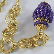 Necklace Silver 925 Yellow Gold Plated with Pendant Milled and Amethyst image 4