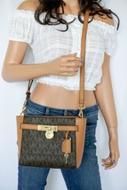 Nwt Michael Kors Hamilton Traveler Signature Medium Top Zip Messenger Bag Brown - $128.69