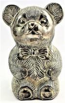 "Metal Teddy Bear Bank Made in Hong Kong 5"" Tall Vintage Fast Free Shipping - $21.99"