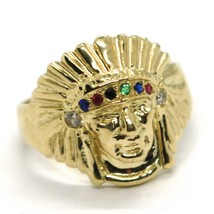 SOLID 18K YELLOW GOLD RING AMERICAN INDIAN WITH FEATHER HAT, ZIRCONIA ITALY MADE image 1