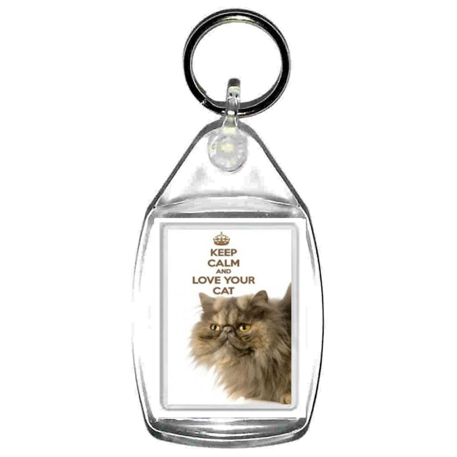 keyring double sided keep calm love cat fun, novelty, keychain key ring