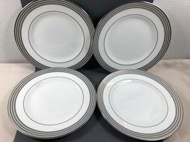 "WEDGWOOD ENGLAND PROMENADE BONE CHINA SALAD SET OF 4 PLATES 8"" PLATINUM RIM - $39.60"