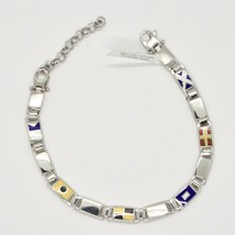 SILVER BRACELET 925 RHODIUM WITH FLAGS NAUTICAL GLAZED TILES MADE IN ITALY image 1