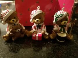 Candy cane bear ornaments - 3 little bears Christmas gift figure rare - $14.84