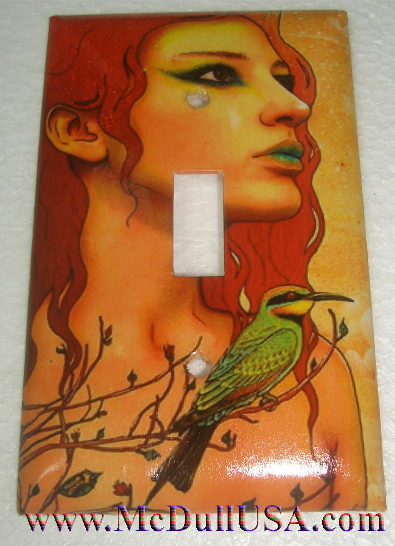 Artist Lady & Bird Toggle Light Switch Duplex Outlet Wall Cover Plate Home Decor