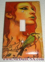 Artist Lady & Bird Toggle Light Switch Duplex Outlet Wall Cover Plate Home Decor image 1