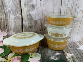 8 Piece Butterfly Gold Oval Casserole Dish And Three Small Round 471,472... - $50.49