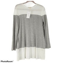 Stevie Hender Womens Top White Gray Striped Long Sleeves Stretch Shirt, ... - $14.81