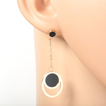 Rose Tone Designer Earrings with Jet Black Faux Onyx Circles & Roman Numerals - $19.99