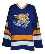 Steve carlson  21 minnesota fighting saints custom hockey jersey blue   1 thumbtall