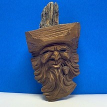 Wood carved Tree face beard gnome pipe folk art Karl Fuhrler W Germany w... - $123.75