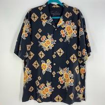 Tommy Bahama Mens Hawaiian Shirt Blue Floral Short Sleeve 100% Silk Logo L - $21.77