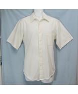 Sz 16.5 Van Heusen Hennessy Satins Mens Off-White Cotton Blend SS Shirt ... - $7.99